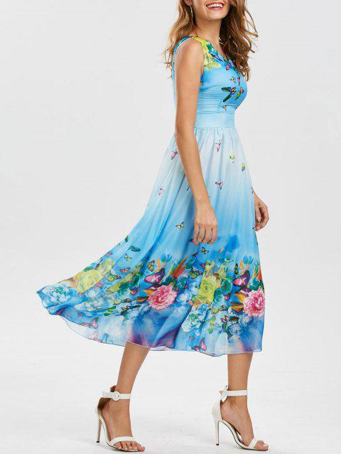 Bohemian Butterfly Floral Print Maxi Dress - WINDSOR BLUE XL