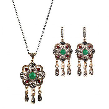 Floral Teardrop Chandelier Necklace and Earrings