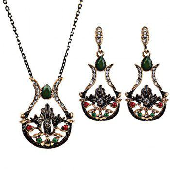 Artificial Gem Teardrop Necklace and Earring Set