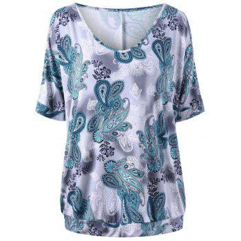 Plus Size Paisley Straight T-shirt - COLORMIX COLORMIX