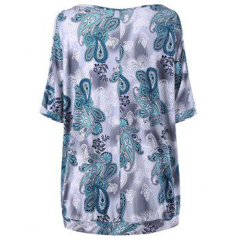 Plus Size Paisley Straight T-shirt - COLORMIX 5XL