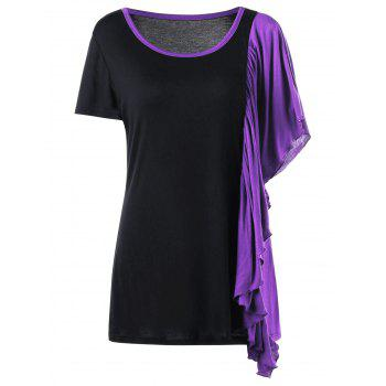 Plus Size Butterfly Sleeve Ringer T-shirt