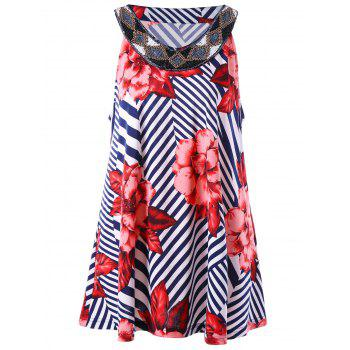 Plus Size Floral and Striped Sleeveless Blouse