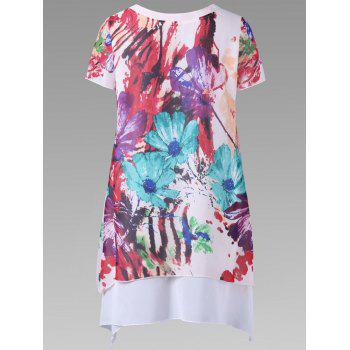 Single Breasted Floral Layered Blouse - COLORMIX L