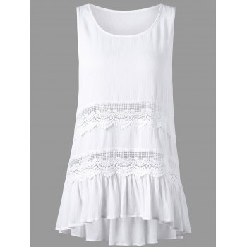 Openwork Insert High Low Hem Sleeveless Blouse