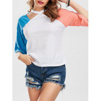 Cut Out Color Block Raglan Sleeve Tee