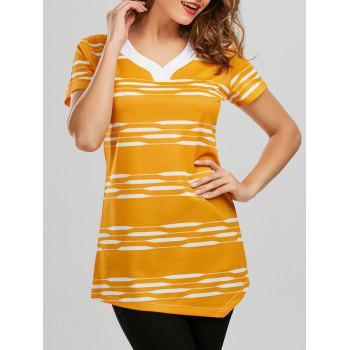 V Neck Striped Longline Tee