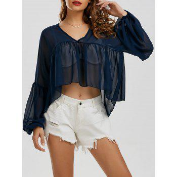 V Neck Sheer Chiffon High Low Top