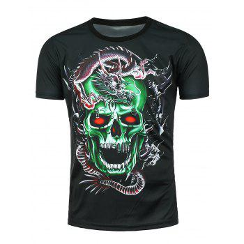 Short Sleeve 3D Dragon Skull Printed T-shirt