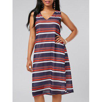 V Neck Sleeveless Stripe Casual Dress
