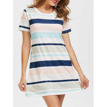 Casual Pocket Striped T Shirt Dress