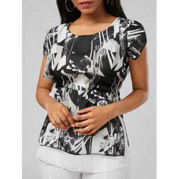 Chiffon Printed Drawstring Top