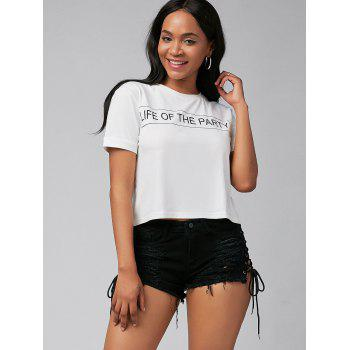 Lace Up Distressed Denim Mini Shorts - BLACK M