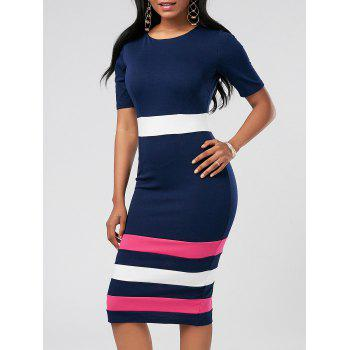 Color Block Midi Sheath Pencil Dress