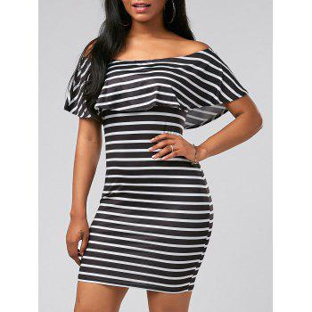 Off The Shoulder Flounce Striped Dress