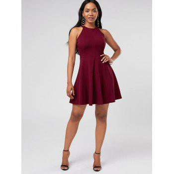 Mini robe de cocktail sans manches - Rouge vineux M