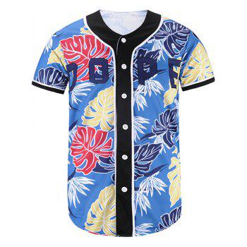 Button Up Leaves Print Baseball Jersey
