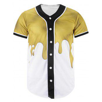 Button Up Paint Dripping Printed Baseball Jersey