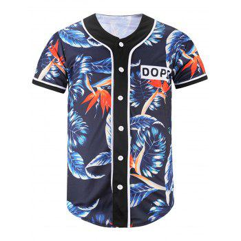 Button Up Leaf Print Baseball Jersey