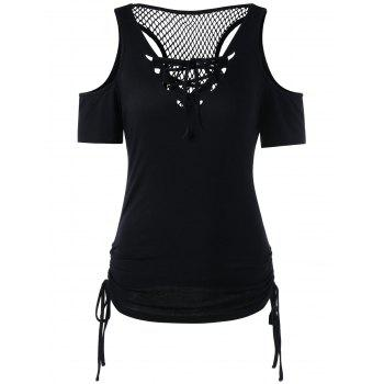 Openwork Lace Up Cold Shouder T-shirt