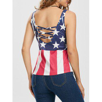 Criss Cross American Flag Print Tank Top