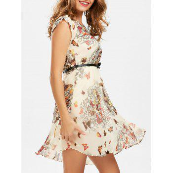 Butterfly Print Belted Mini Dress