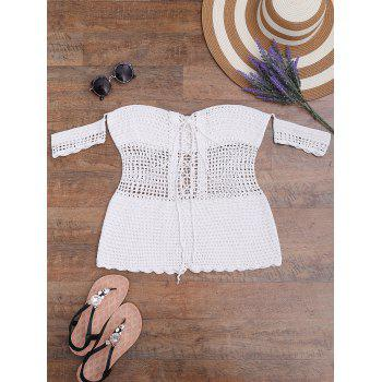 Crochet Off The Shoulder Lace-Up Romper Swimsuit