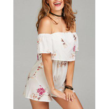 Floral Print Off Shoulder Romper