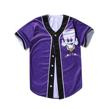 Cartoon Printed Button Up Baseball Jersey