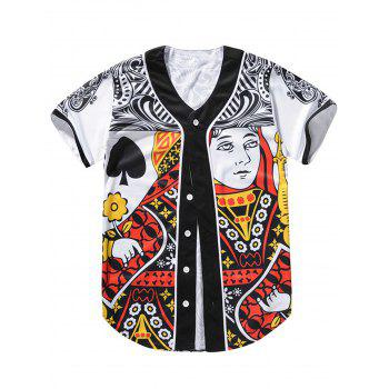 Poker Queen Print Button Up Baseball Jersey