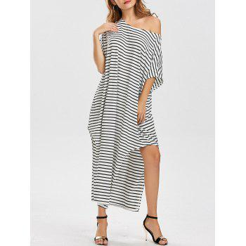 Loose Fit Skew Neck Asymmetric Striped Dress