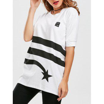 Striped Star Print Tunic T Shirt