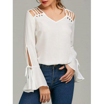 Cut Out Bell Sleeve Chiffon Top