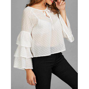 Polka Dot Layered Bell Sleeve Sheer Blouse