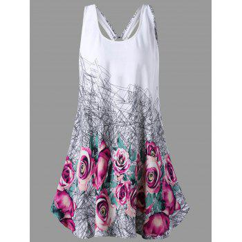 U Neck Floral Open Back Tank Top