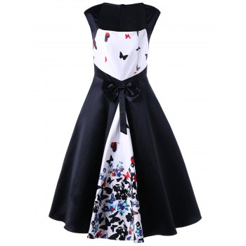 Butterfly Print Bowknot Decorated 50s Dress