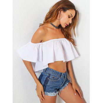 Off The Shoulder High Low Crop Top - WHITE WHITE