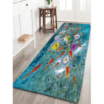 Bathroom Skidproof Flannel Rug with Goldfish Print