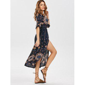 Bohemian Tribal Print High Split Dress - multicolorcolore M