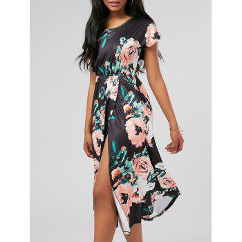 Floral Print Front Slit Dress with Pockets