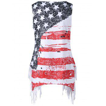 Plus Size American Flag Fringed T-shirt - COLORMIX COLORMIX