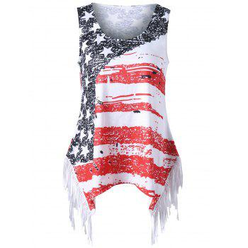 Plus Size American Flag Fringed T-shirt