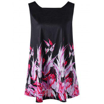 Plus Size Cut Out Feather Tank Top