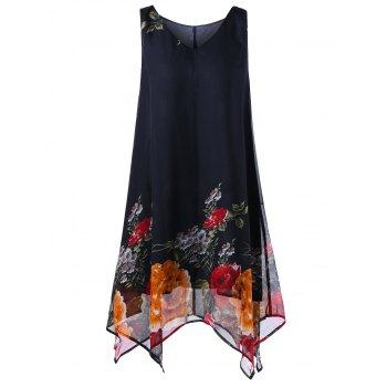Plus Size V Neck Floral Handkerchief Dress