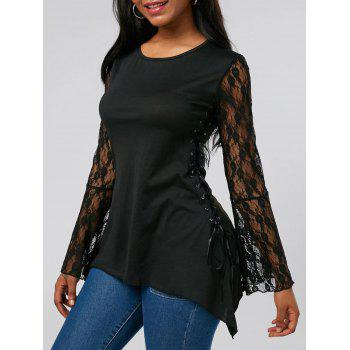 Bell Sleeve Lace Up Tunic Tee