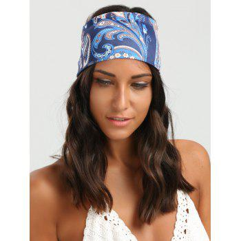Wide Elastic Ethnic Floral Pattern Headband