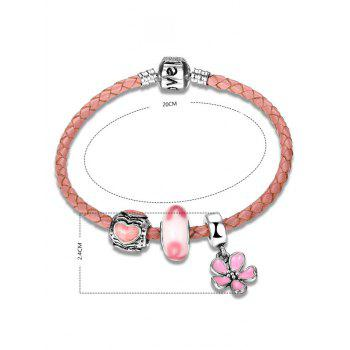 Engraved Love Heart Flower Charm Bracelet - PINK