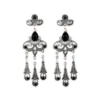 Vintage Faux Crystal Water Drop Earrings