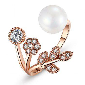 Faux Pearl and Diamond Cuff Ring