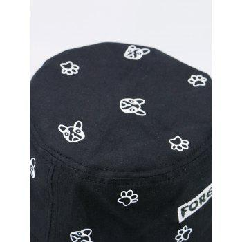 Letters Embroidered Bucket Hat with Cartoon Pattern -  FULL BLACK